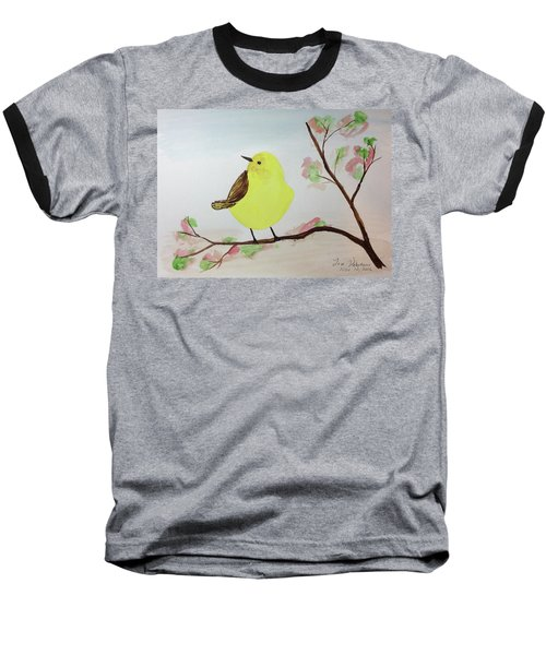Yellow Chickadee On A Branch Baseball T-Shirt