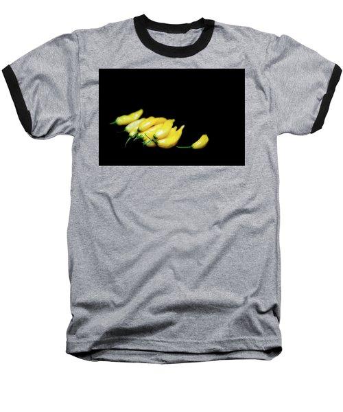 Yellow Chillies On A Black Background Baseball T-Shirt