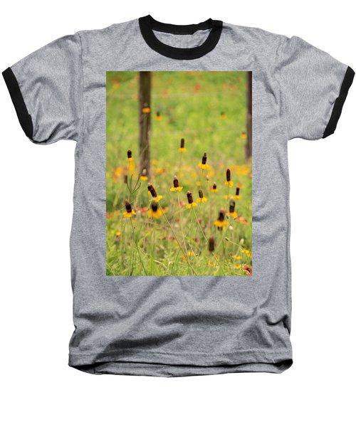 Yellow Cone Flower Baseball T-Shirt