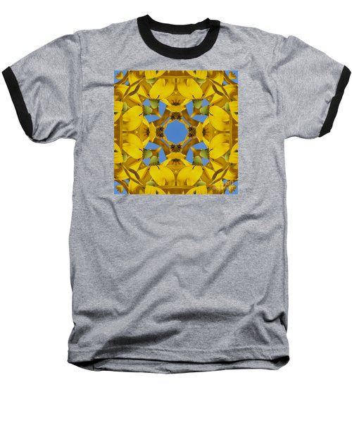 Yellow Coneflower Kaleidoscope Baseball T-Shirt by Smilin Eyes  Treasures