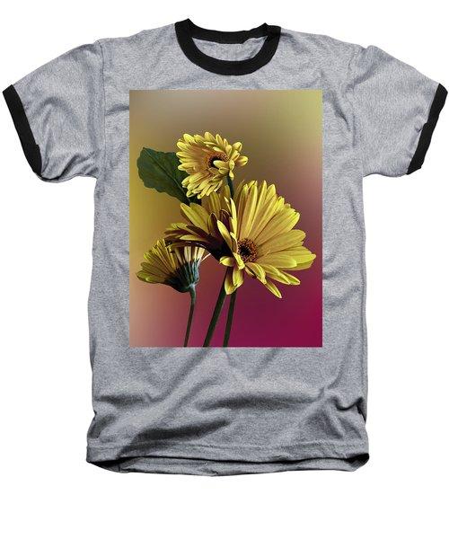 Yellow Daisy Trio Baseball T-Shirt