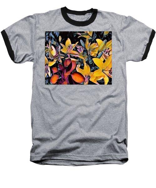 Yellow Daylilies Baseball T-Shirt by Kathie Chicoine