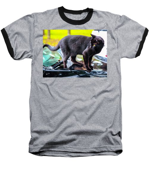 Baseball T-Shirt featuring the photograph Yellow Eyed Cat by Madeline Ellis