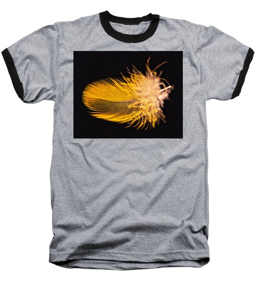 Yellow Feather Macro Baseball T-Shirt by Bob Slitzan