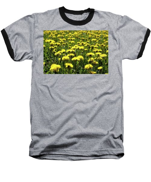 Yellow Field Two  Baseball T-Shirt by Lyle Crump