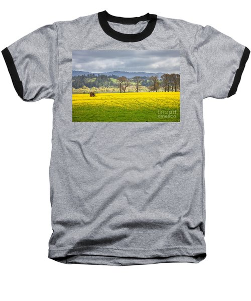 Yellow Fields Along The Eel River Baseball T-Shirt by Mark Alder