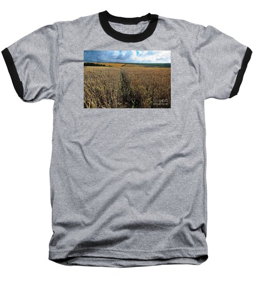 Baseball T-Shirt featuring the photograph Yellow Filds And Fluffy Clouds by Gary Bridger
