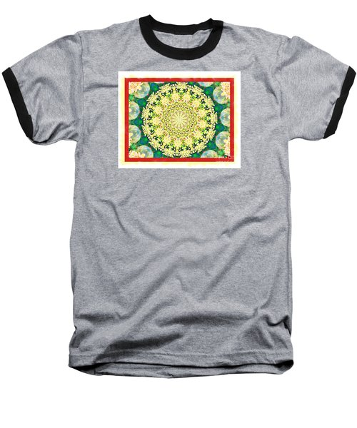 Yellow Floral Medallion Baseball T-Shirt