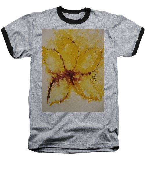 Yellow Flower Baseball T-Shirt by AJ Brown