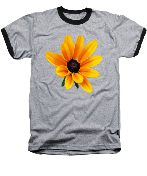 Yellow Flower Black-eyed Susan Baseball T-Shirt by Christina Rollo