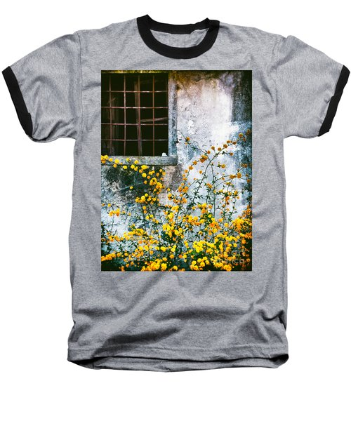 Baseball T-Shirt featuring the photograph Yellow Flowers And Window by Silvia Ganora