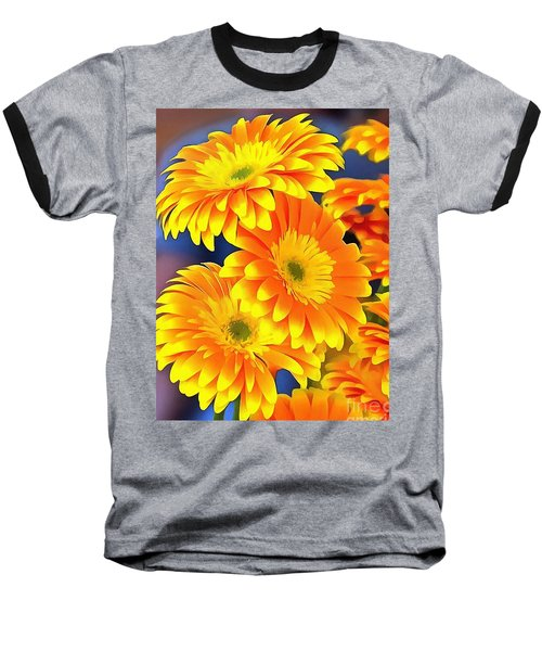 Yellow Flowers In Thick Paint Baseball T-Shirt