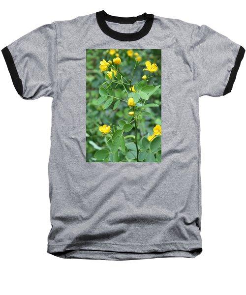 Yellow Flowers Baseball T-Shirt by Karen Nicholson