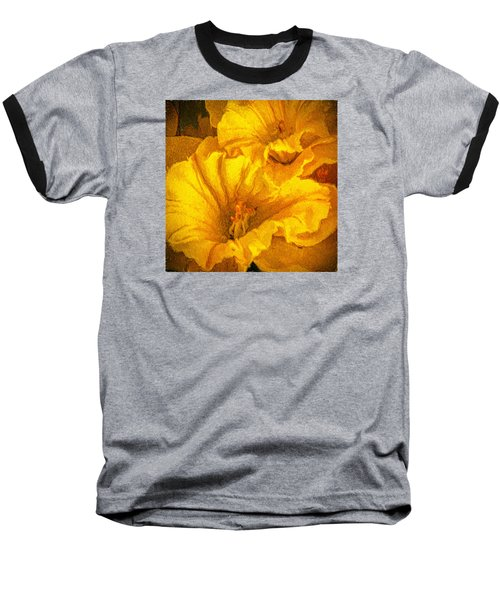 Yellow Flowers Baseball T-Shirt