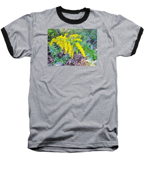 Yellow Flowers On Green Baseball T-Shirt by Craig Walters