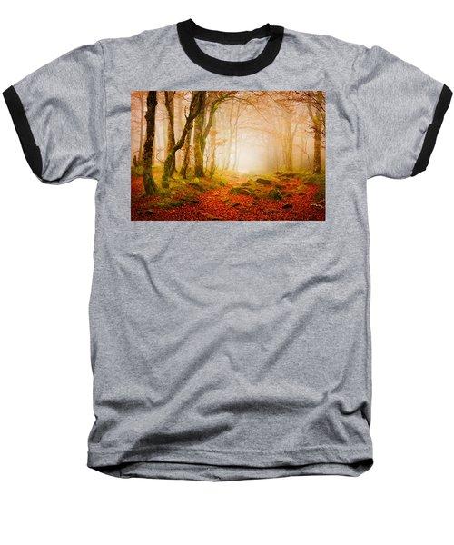 Yellow Forest Mist Baseball T-Shirt