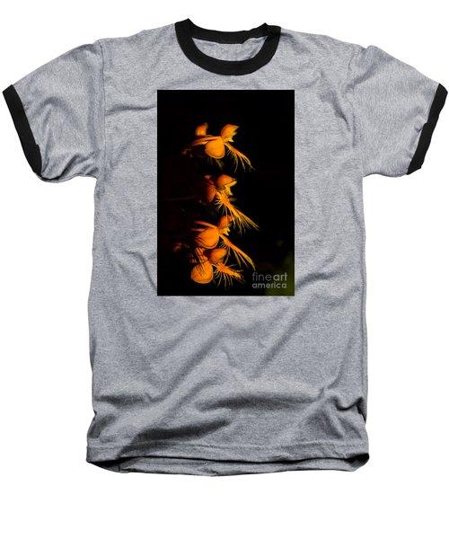 Yellow-fringe Orchid Baseball T-Shirt by Barbara Bowen
