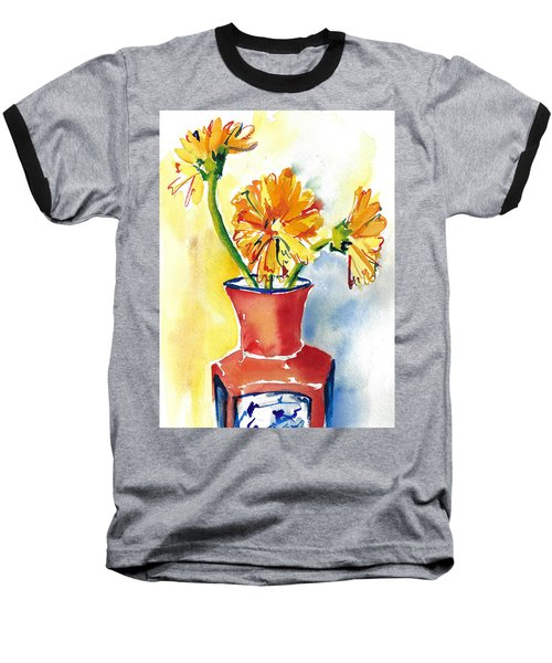 Yellow Gerbera Daisies In A Red And Blue Delft Vase Baseball T-Shirt