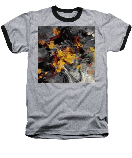 Yellow / Golden Abstract / Surrealist Landscape Painting Baseball T-Shirt by Ayse Deniz