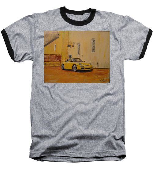 Yellow Gt3 Porsche Baseball T-Shirt