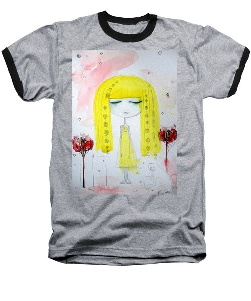 Yellow Hair Girl  Baseball T-Shirt