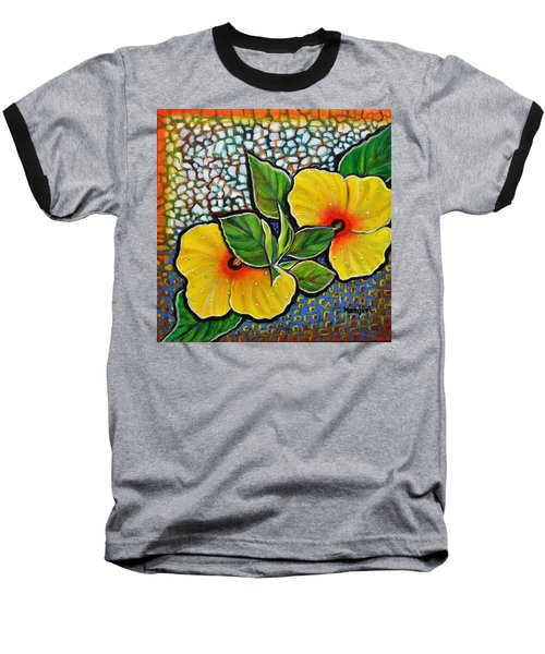 Yellow Hibiscus A Decorative Painting With Mosaic Style On Sale Baseball T-Shirt