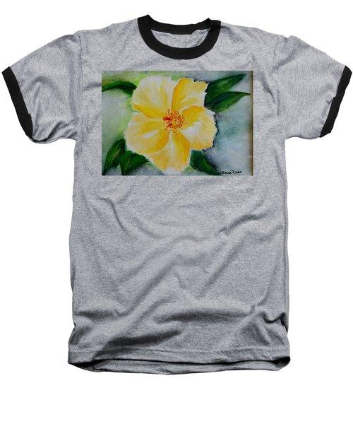 Yellow Hibiscus Baseball T-Shirt by Jamie Frier