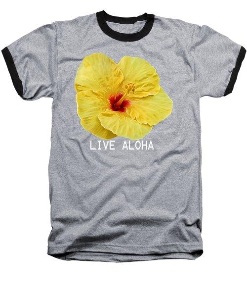 Yellow Hibiscus Baseball T-Shirt by Pamela Walton
