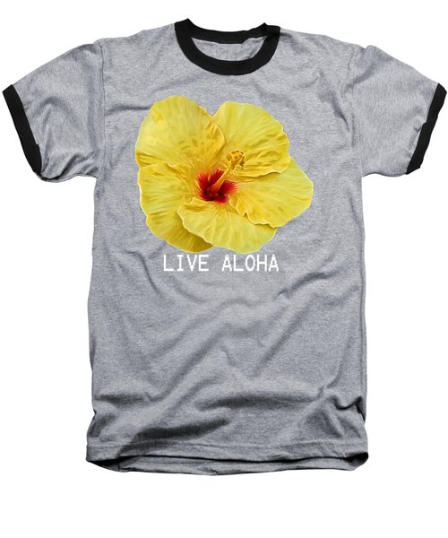 Yellow Hibiscus Baseball T-Shirt