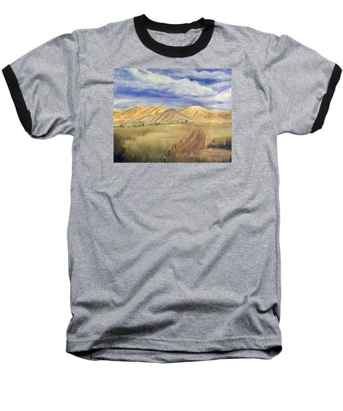 Baseball T-Shirt featuring the painting Yellow Hills Of Jensen by Sherril Porter