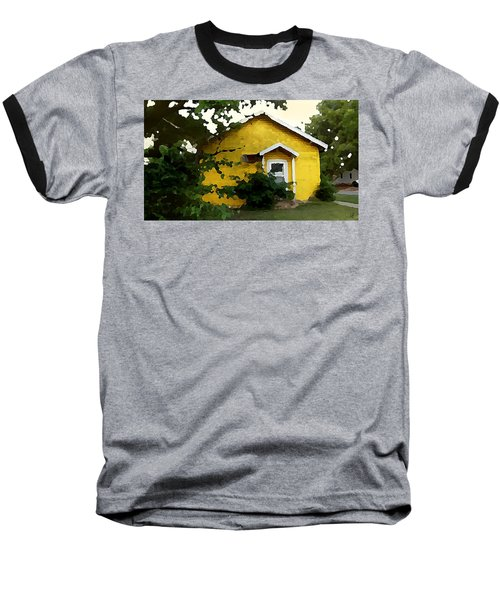 Baseball T-Shirt featuring the digital art Yellow House In Shantytown  by Shelli Fitzpatrick