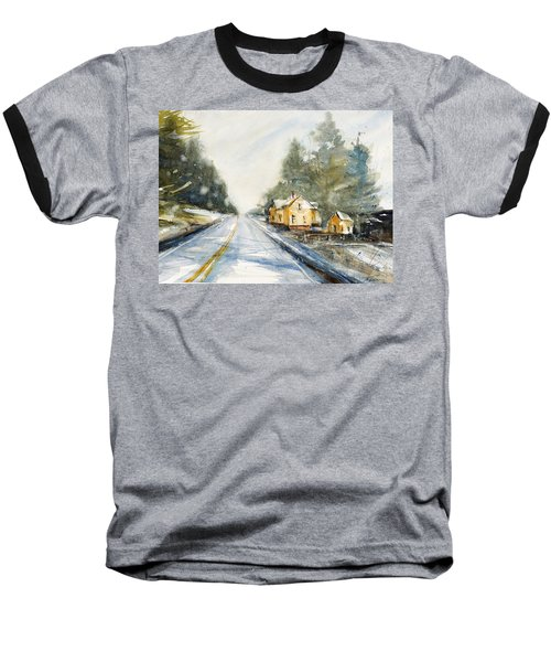 Yellow House On The Right Baseball T-Shirt by Judith Levins