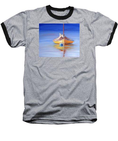 Yellow Hull Sailboat Iv Baseball T-Shirt by Trina Teele