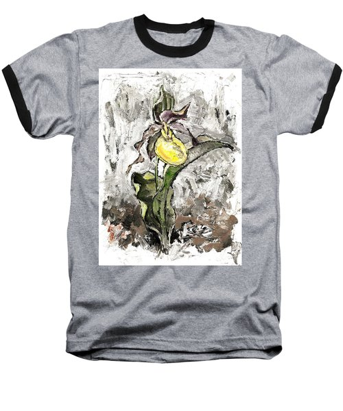 Yellow Lady's Slipper Baseball T-Shirt
