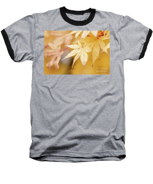 Yellow Leaf With Red Veins Baseball T-Shirt