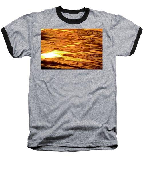 Yellow Light On Water  Baseball T-Shirt by Lyle Crump