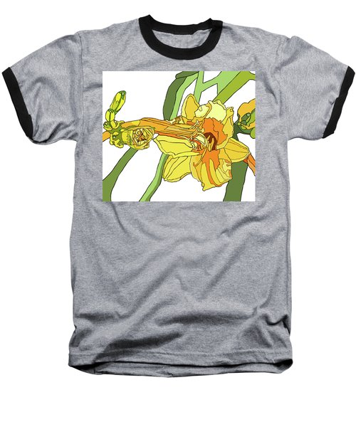Yellow Lily And Bud, Graphic Baseball T-Shirt by Jamie Downs