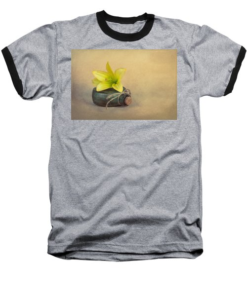 Baseball T-Shirt featuring the photograph Yellow Lily And Green Bottle by Tom Mc Nemar