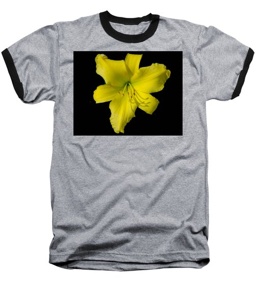 Yellow Lily Flower Black Background Baseball T-Shirt
