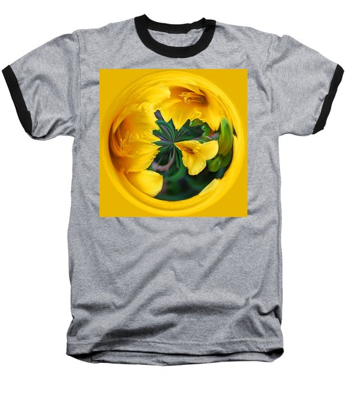 Yellow Lily Orb Baseball T-Shirt by Bill Barber