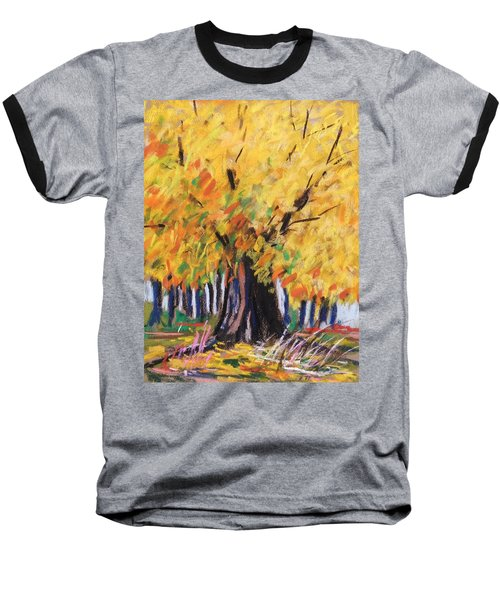 Yellow Maple Wet Trunk Baseball T-Shirt by John Williams
