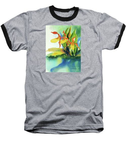 Baseball T-Shirt featuring the painting Yellow Moccasin Flowers by Kathy Braud