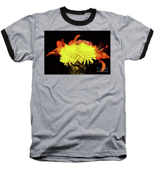 Yellow Mums And Orange Lilies  Baseball T-Shirt