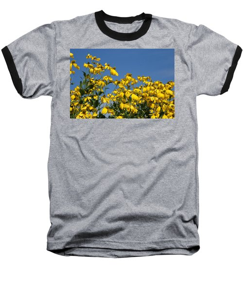 Yellow On Blue Baseball T-Shirt by Lois Lepisto