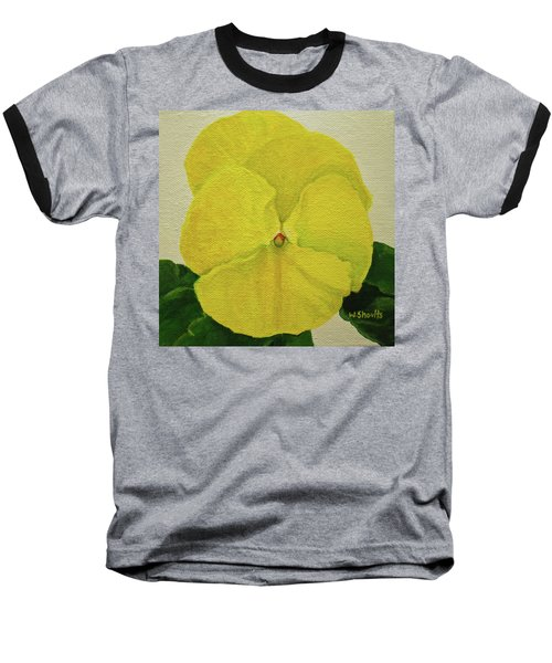 Baseball T-Shirt featuring the painting Yellow Pansy by Wendy Shoults
