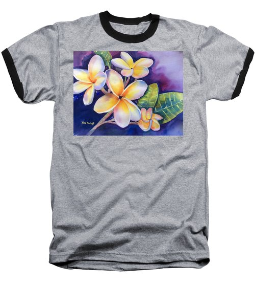 Yellow Plumeria Flowers Baseball T-Shirt
