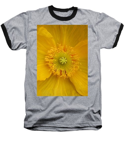 Yellow Poppy Flower Center Baseball T-Shirt