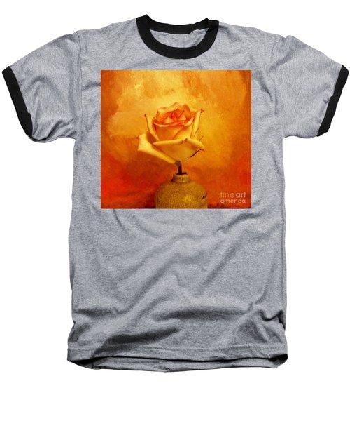Yellow Red Orange Tipped Rose Baseball T-Shirt by Marsha Heiken