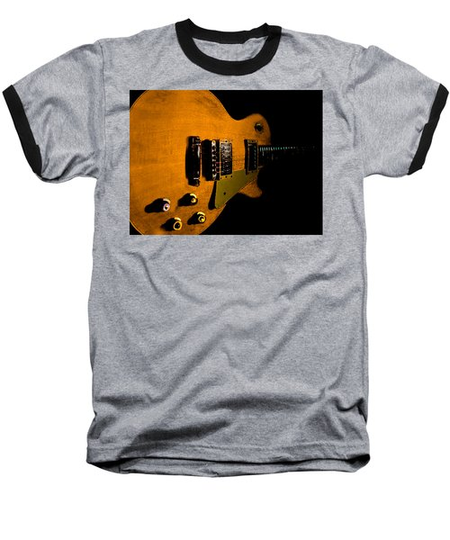 Baseball T-Shirt featuring the digital art Yellow Relic Guitar Hover Series by Guitar Wacky