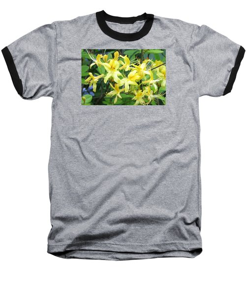 Yellow Rhododendron Baseball T-Shirt by Carla Parris